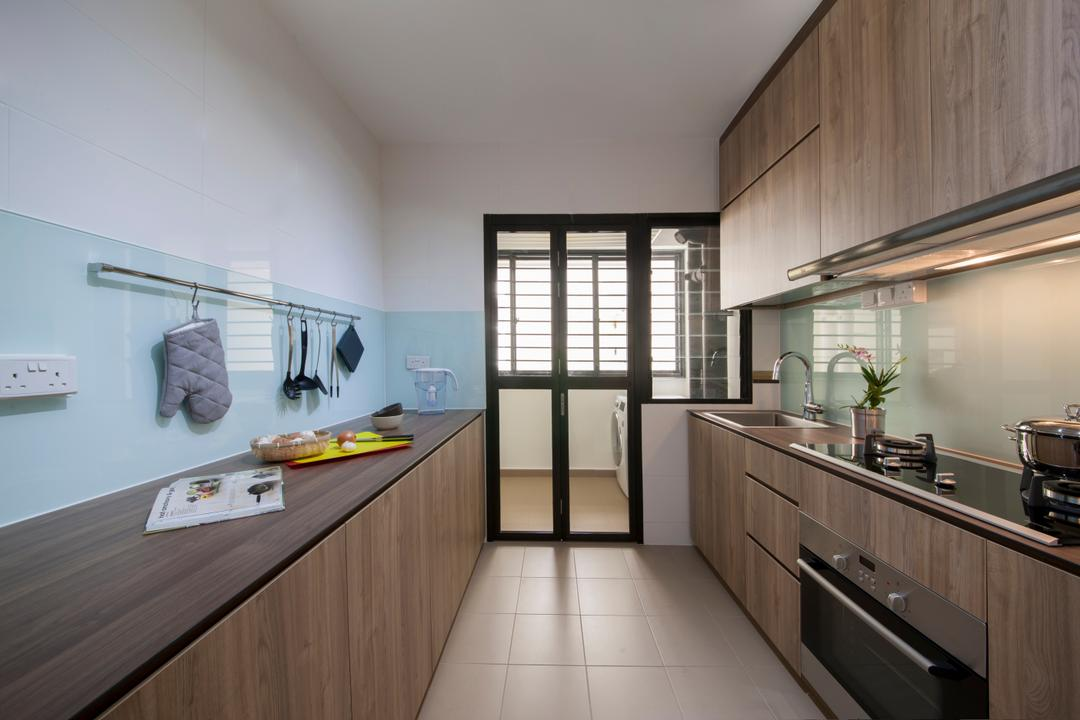 Fernvale Rivergrove, Aart Boxx Interior, Industrial, Scandinavian, Kitchen, HDB, Modern Contemporary Kitchen, Ceramic Tiles, Wooden Kitchen Cabinet, Wooden Kitchen Cupboard, Wooden Laminate Top, Wooden Panel, Indoors, Interior Design