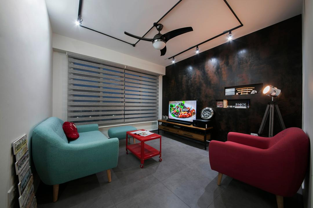 Woodlands Drive, Aart Boxx Interior, Industrial, Living Room, HDB, Modern Contemporary Living Room, Tifanny Blue Sofa, Magenta Sofa, Cement Floor, Ceiling Fan, Track Lights, Wall Mounted Television, Wooden Television Console, Built In Shelves, Roll Down Curtain, Chair, Furniture, Indoors, Room, Building, Housing, Loft, Dining Table, Table