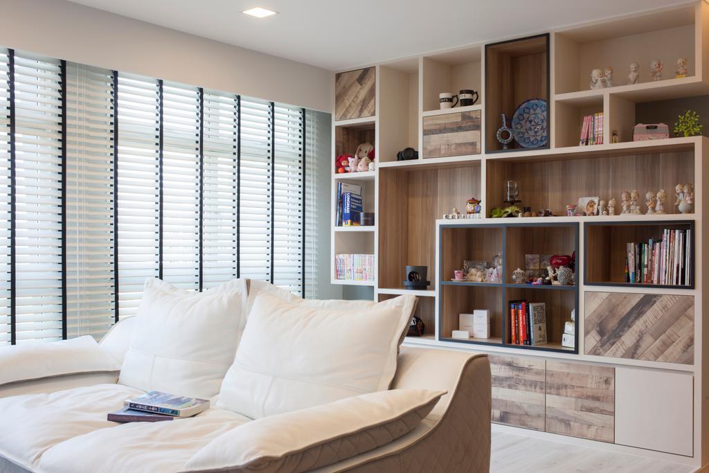 Scandinavian, HDB, Living Room, Punggol Drive (Block 663B), Interior Designer, Aart Boxx Interior, Couch, Furniture, Bookcase, Sideboard