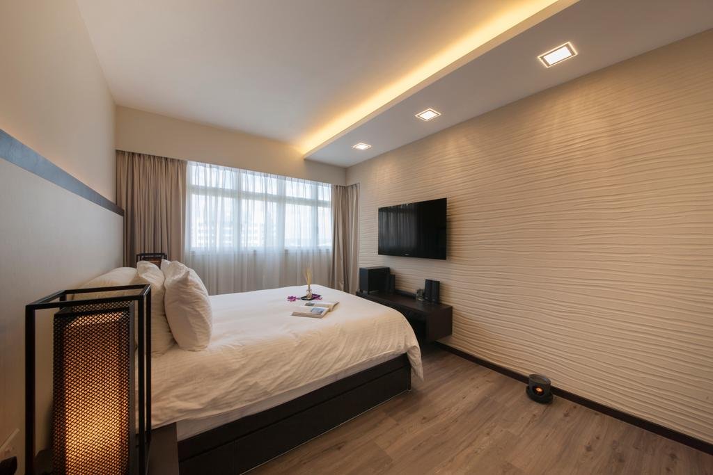 Scandinavian, HDB, Bedroom, Punggol Drive (Block 663B), Interior Designer, Aart Boxx Interior, King Size Bed, Wall Mounted Television, Sling Curtain, Wooden Floor, Cozy, Cosy, Modern Contemporary Bedroom, Floating Television Console, Bed, Furniture, Indoors, Interior Design, Room