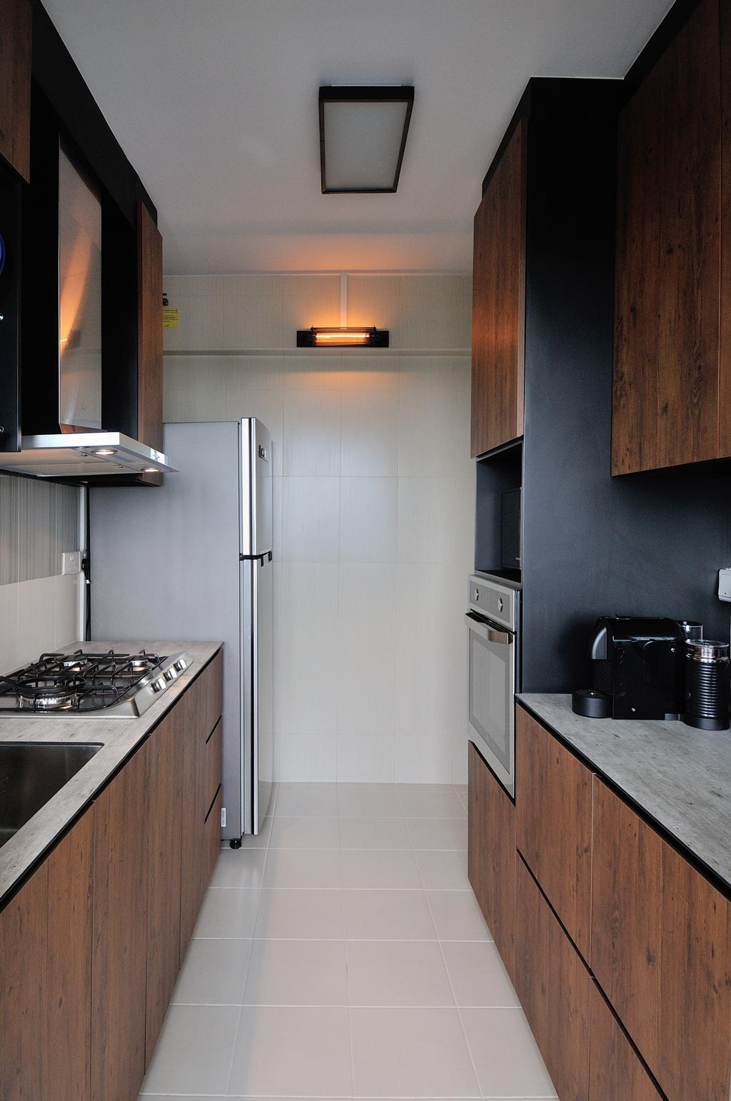 Industrial, HDB, Kitchen, 57 Teban View, Interior Designer, Aart Boxx Interior, Scandinavian, Modern Contemporary Kitchen, Cermaic Tiles, Wooden Kitchen Cupboard, Wooden Kitchen Cabinet, White Laminated Top, Ceiling Lights, Built In Oven, Indoors, Interior Design, Room