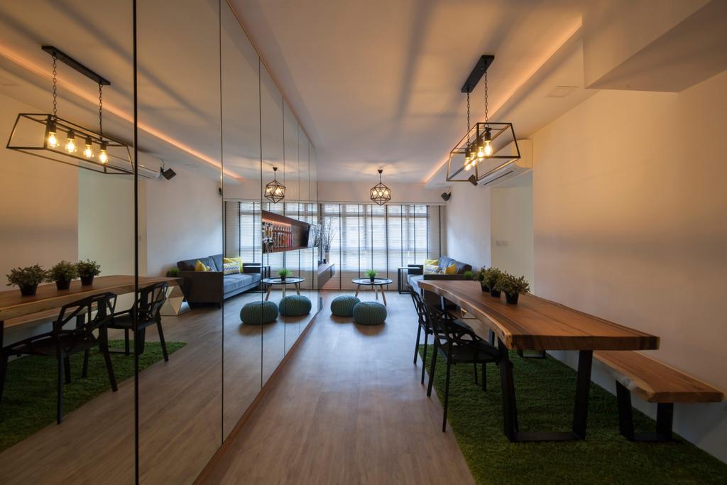 Scandinavian, HDB, Living Room, Tampines Avenue 8 (Block 869B), Interior Designer, Le Interi, Dining Table, Furniture, Table, Bench, Dining Room, Indoors, Interior Design, Room, Flooring