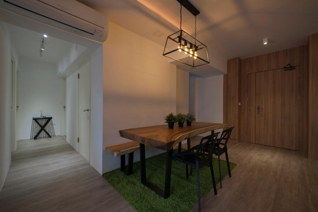 Scandinavian, HDB, Dining Room, Tampines Avenue 8 (Block 869B), Interior Designer, Le Interi, Dining Table, Furniture, Table, Indoors, Interior Design, Room, Bench