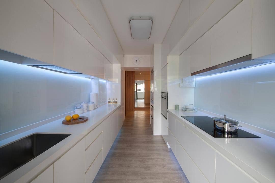 Tampines Avenue 8 (Block 869B), Le Interi, Scandinavian, Kitchen, HDB, Modern Contemporary Kitchen, Wooden Floor, White Kitchen Cabinet, , White Kitchen Cupboard, White Laminated Top, Hidden Interior Light, Ceiling Light, Corridor
