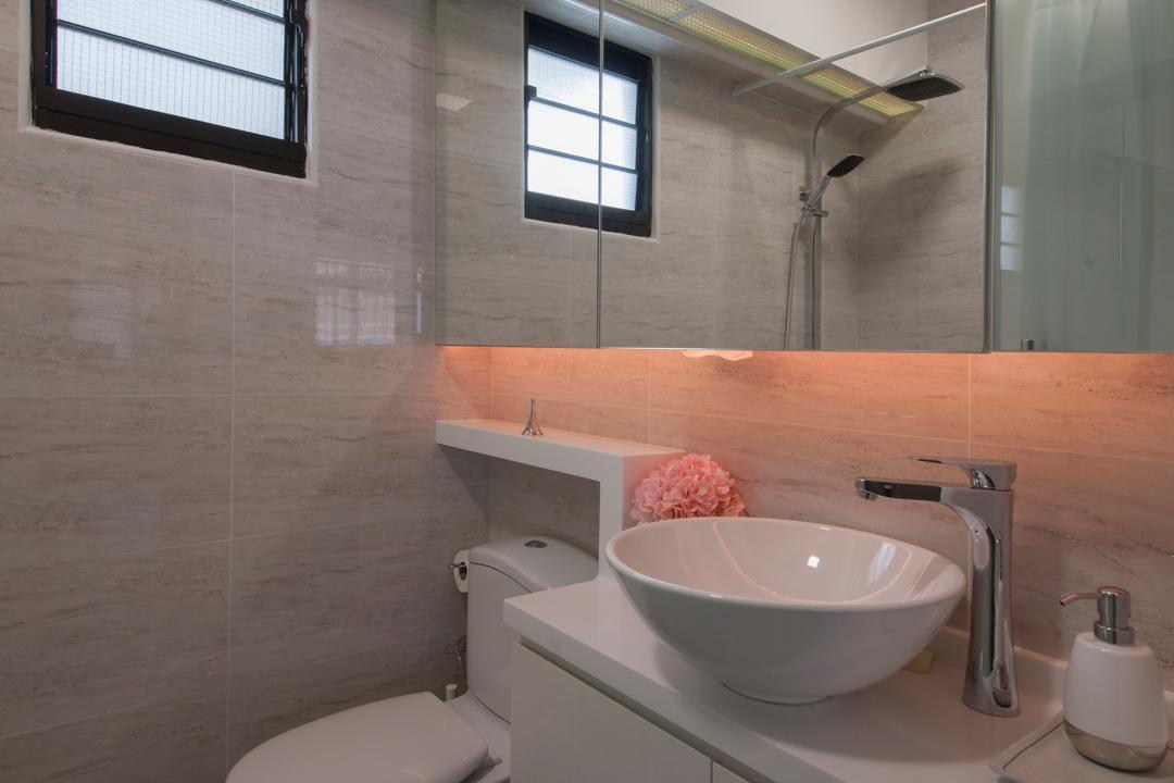 Tampines Avenue 8 (Block 869B), Le Interi, Scandinavian, Bathroom, HDB, Modern Contemporary Bathroom, Hidden Interior Lighting, Recessed Light, Ceramic Floor, White Bathroom Cabinet, White Sink Countertop, Protruding Sink, Sink, Toilet, Wall