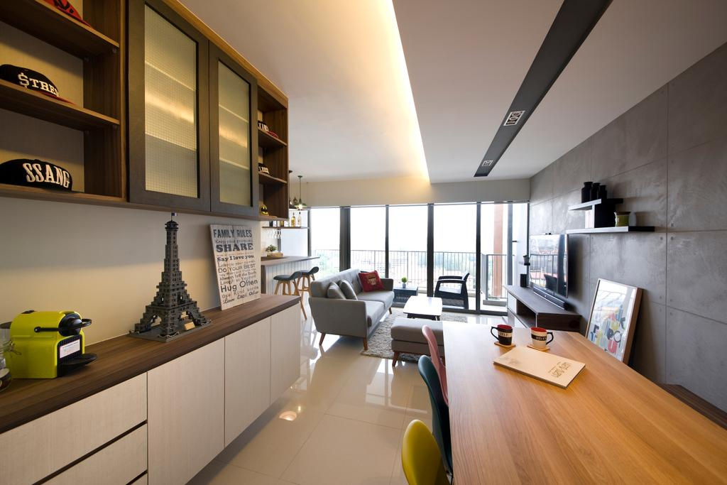 Scandinavian, HDB, Dining Room, Yuan Ching, Interior Designer, Space Factor, Cabinets, White, Brown, Wooden, Table, Concealed Lighting, Couch, Furniture, Shelf, Lathe, Machine, Indoors, Interior Design, Living Room, Room, Building, Housing, Loft