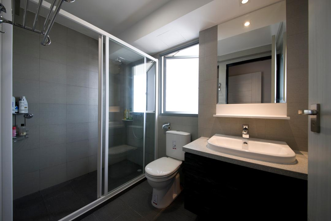 Yuan Ching, Space Factor, Scandinavian, Bathroom, HDB, See Through, Shower Doors, Glass Partition, Vanity Cabinet, Mirror, Toilet, Indoors, Interior Design, Room