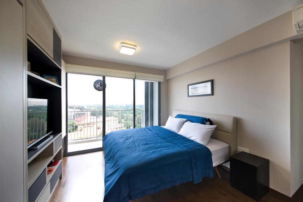 Scandinavian, HDB, Bedroom, Yuan Ching, Interior Designer, Space Factor, Blue, Bed, Indoors, Interior Design, Room