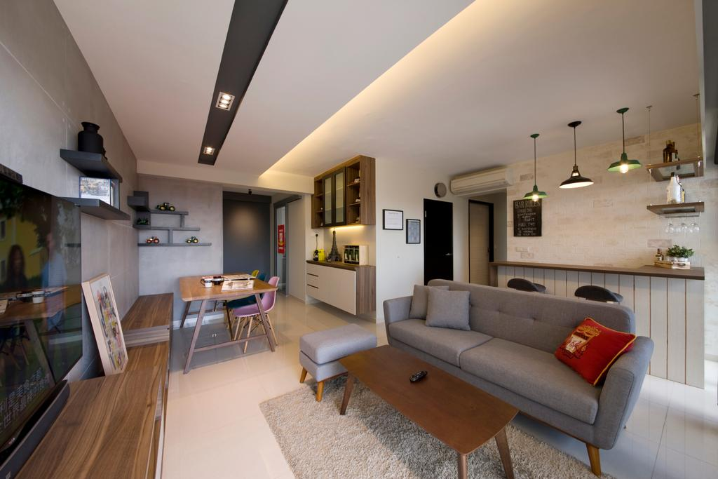 Scandinavian, HDB, Living Room, Yuan Ching, Interior Designer, Space Factor, Grey, Gray, Sofa, Concealed Lighting, Coffee Table, Neutrals, Cove Lighting, Bar Counter, Couch, Furniture, Book