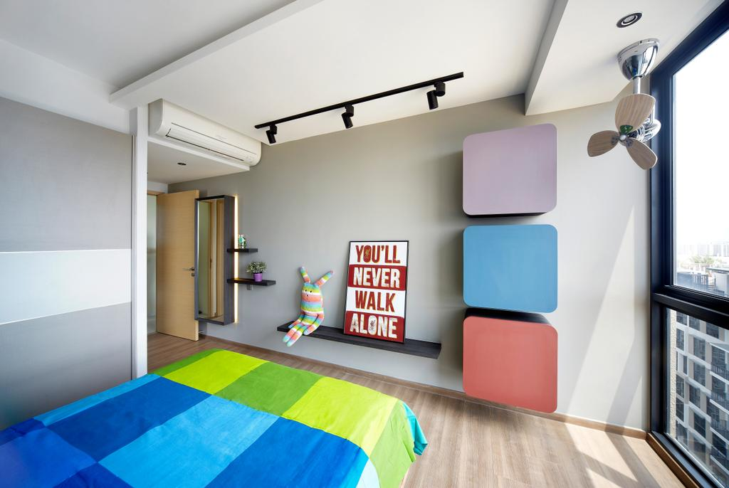 Eclectic, HDB, Bedroom, Rainforest, Interior Designer, Notion of W, Modern Contemporary Bedroom, Wooden Floor, Artsy, Colourful, Colourful Bed, Track Lights, Wall Mounted Wooden Shelves, Paint Container, Palette, Indoors, Interior Design