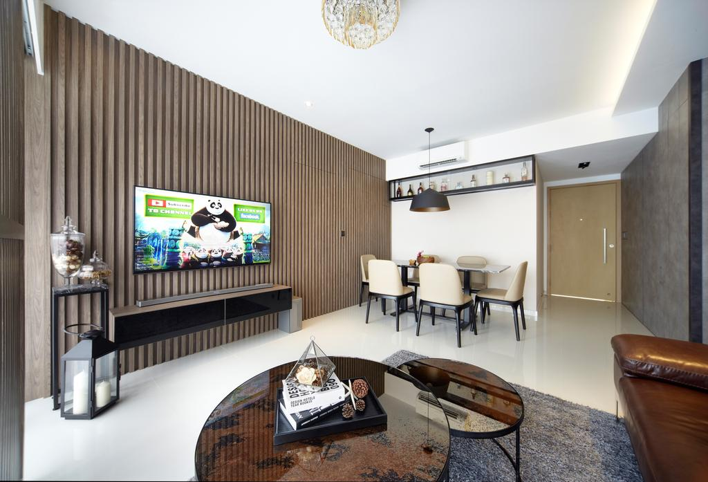 Contemporary, Condo, Living Room, Twin Waterfalls, Interior Designer, Notion of W, Modern, Modern Contemporary Living Room, Round Glass Table, Rug, Hidden Interior Lighting, Wooden Panel, Wall Mounted Television, Floating Television Console, Ceiling Fan, Dining Room, Indoors, Interior Design, Room, Furniture, Table