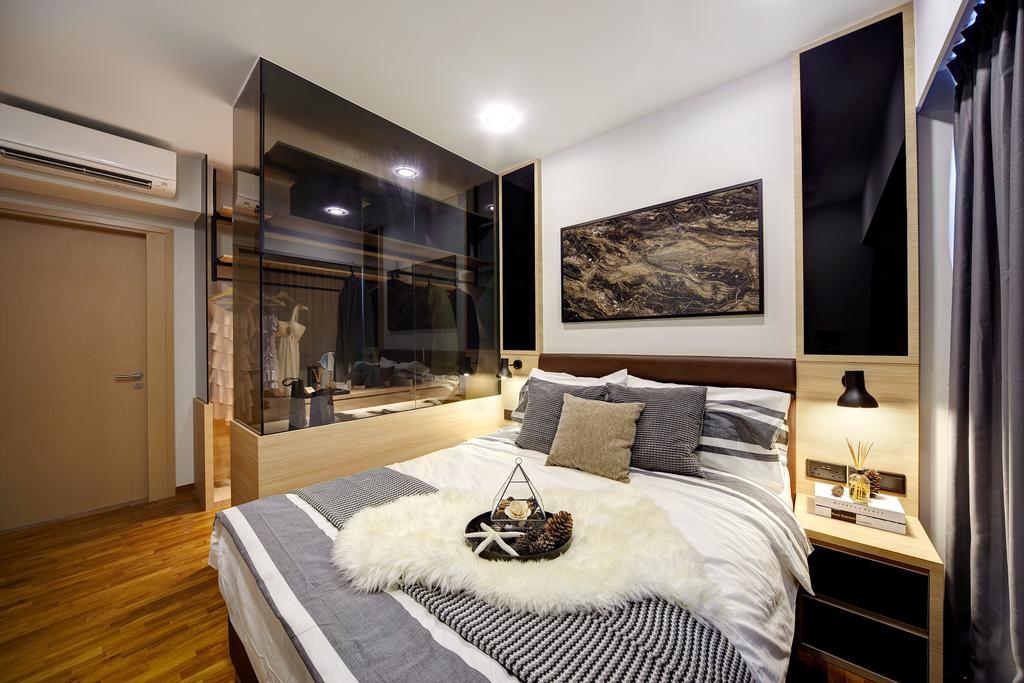 Contemporary, Condo, Bedroom, Twin Waterfalls, Interior Designer, Notion of W, Modern, Modern Contemporary Bedroom, King Size Bed, Recessed Lights, Wooden Floor, Glass Panel, Sling Curtain, Cozy, Cosy, Wooden Bedding Panel, Wooden Door, Lighting, Indoors, Interior Design, Room, Bed, Furniture