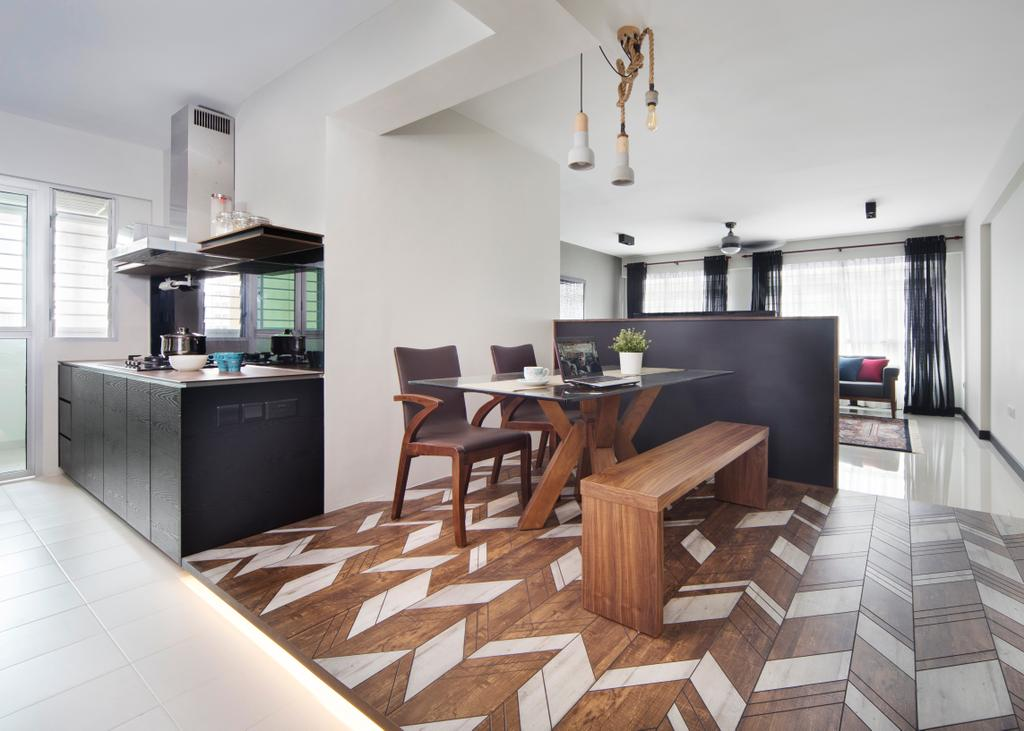 Eclectic, HDB, Dining Room, Fajar Road (Block 442D), Interior Designer, The Scientist, Dining Table, Furniture, Table, Chair, Flooring, Appliance, Dishwasher, Electrical Device, Indoors, Interior Design, Room