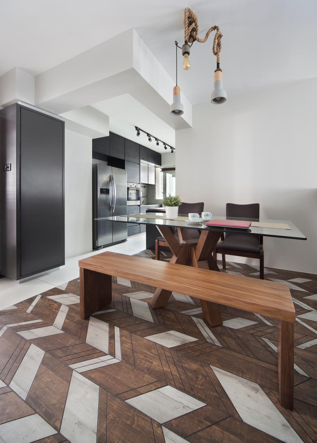 Eclectic, HDB, Dining Room, Fajar Road (Block 442D), Interior Designer, The Scientist, Dining Table, Furniture, Table, Chair, Appliance, Electrical Device, Fridge, Refrigerator, Indoors, Interior Design, Room
