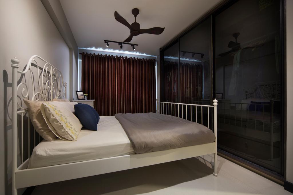 Eclectic, HDB, Bedroom, Fajar Road (Block 442D), Interior Designer, The Scientist, Bed, Furniture, Banister, Handrail
