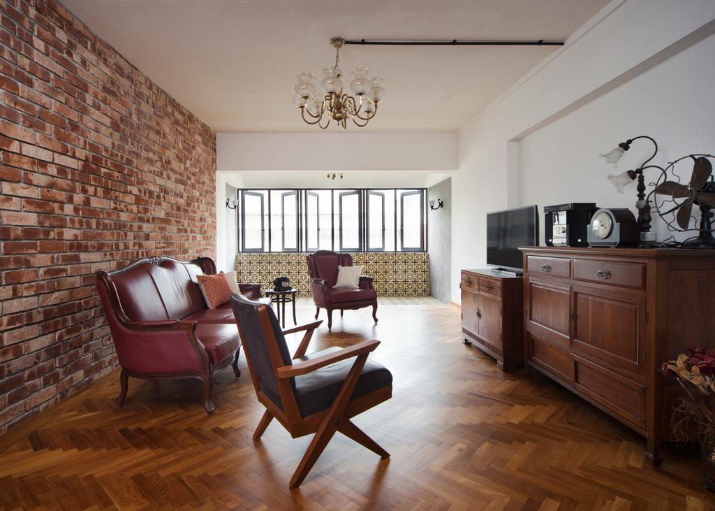 Eclectic, HDB, Living Room, Serangoon Avenue 2 (Block 310), Interior Designer, The Scientist, Retro, Chair, Furniture, Hardwood, Wood, Dining Room, Indoors, Interior Design, Room, Dining Table, Table
