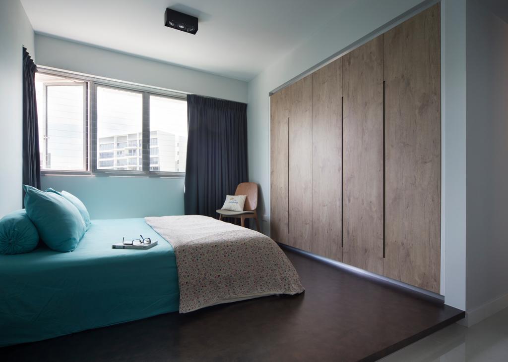 Transitional, HDB, Bedroom, Upper Serangoon (Block 473D), Interior Designer, The Scientist, Bed, Furniture, Curtain, Home Decor, Indoors, Interior Design