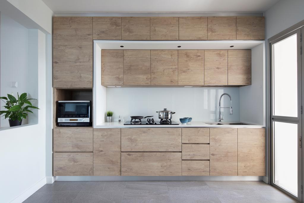 Transitional, HDB, Kitchen, Upper Serangoon (Block 473D), Interior Designer, The Scientist, Flora, Jar, Plant, Potted Plant, Pottery, Vase, Door, Sliding Door