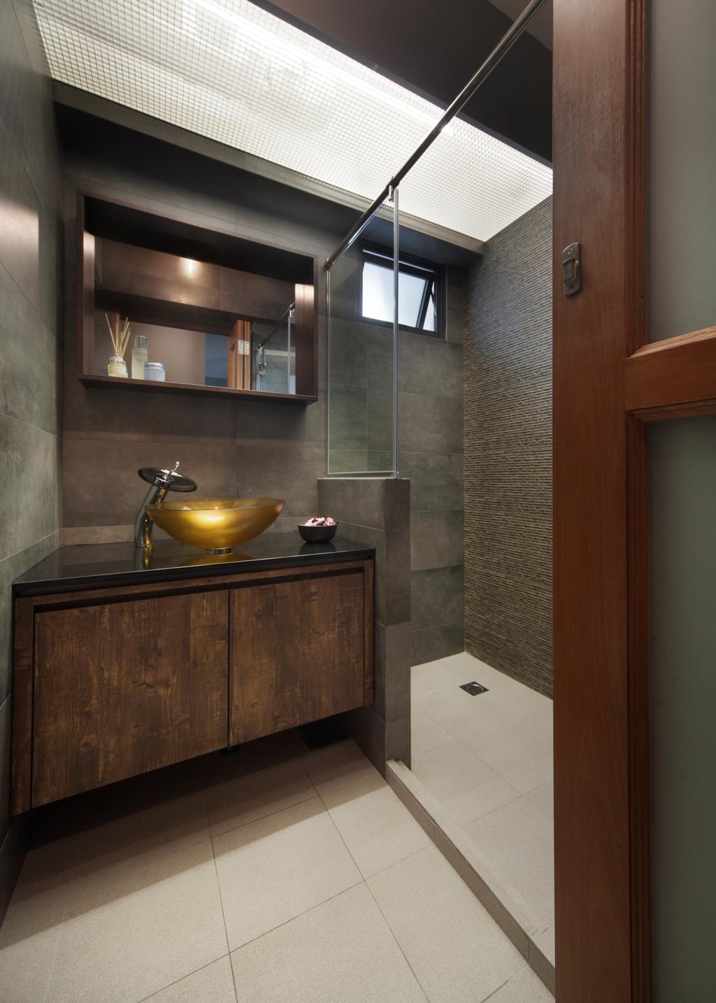 Transitional, HDB, Bathroom, Skyville@Dawson (Block 88), Interior Designer, The Scientist, Pot, Shelf, Indoors, Interior Design, Kitchen, Room