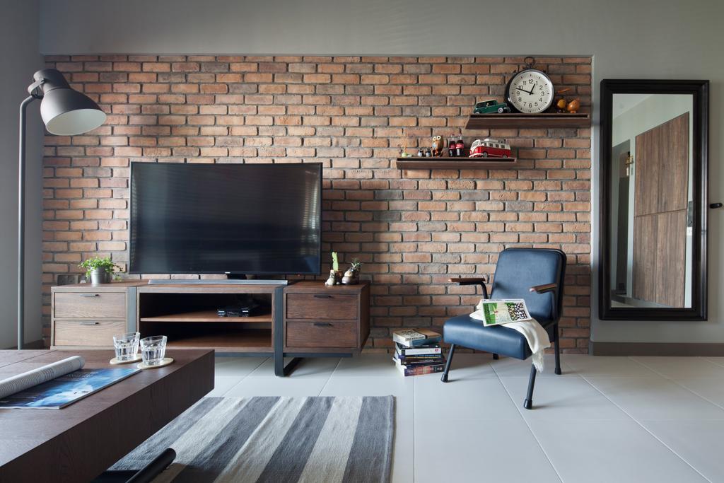 Transitional, HDB, Living Room, Skyville@Dawson (Block 88), Interior Designer, The Scientist, Fireplace, Hearth