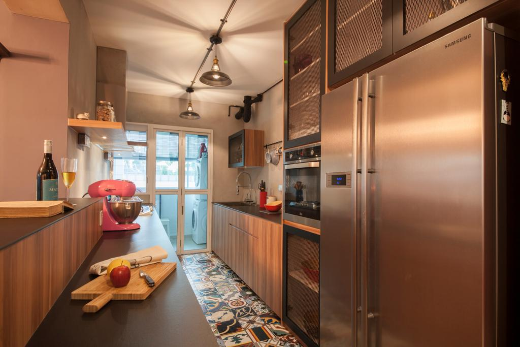 Eclectic, HDB, Kitchen, Kallang Trivista, Interior Designer, Free Space Intent, Appliance, Electrical Device, Fridge, Refrigerator