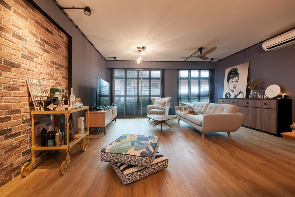 Eclectic, HDB, Living Room, Kallang Trivista, Interior Designer, Free Space Intent, Hardwood, Wood, Flooring, Furniture