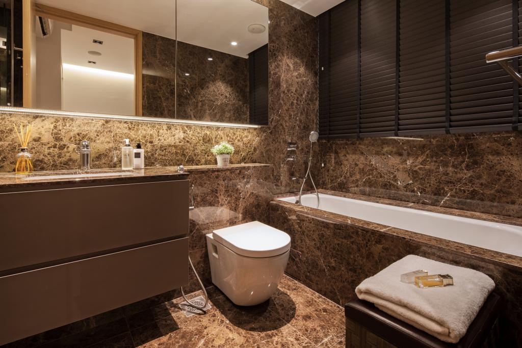 Modern, Condo, Bathroom, Bartley Residence, Interior Designer, Posh Home, Modern Contemporary Bathroom, Resort Theme, Hidden Interior Lighting, Ceramic Floor, Bathtub, Indoors, Interior Design, Room, Toilet