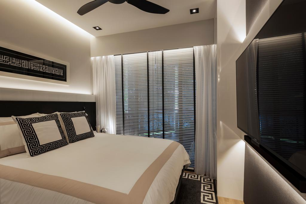 Modern, Condo, Bedroom, Parc Olympia, Interior Designer, Posh Home, King Size Bed, Sling Curtain, Recessed Lights, Hidden Interior Lighting, Ceiling Fan, Wall Mounted Television, Wooden Floor, Cozy, Cosy, Modern Contemporary Bedroom, Indoors, Interior Design, Bed, Furniture, Room, Cushion, Home Decor