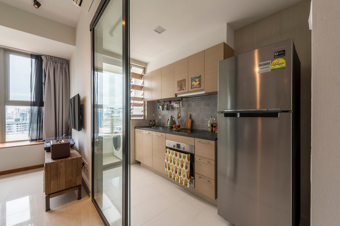 Balestier, Prozfile Design, Industrial, Eclectic, Kitchen, HDB, Wooden Cabinet, Wooden Cupboard, Recessed Lights, Black Laminated Top, Appliance, Electrical Device, Fridge, Refrigerator