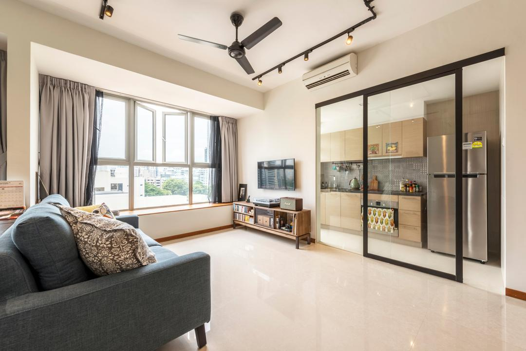Balestier, Prozfile Design, Industrial, Eclectic, Living Room, HDB, Modern Contemporary Living Room, Ceiling Fan, Track Lights, Black Sofa, Sling Curtain, Spacious, Wall Mounted Television, Wooden Television Console, Sliding Glass Door, Indoors, Interior Design