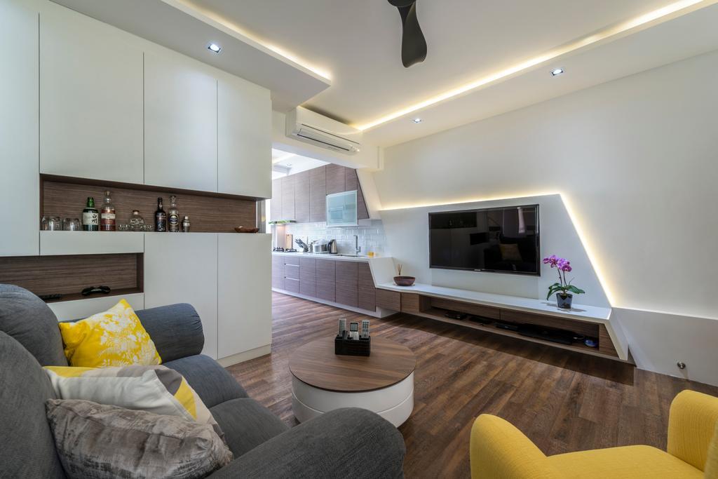 Contemporary, HDB, Living Room, Kim Cheng Street, Interior Designer, Metamorph Design, Couch, Furniture, Indoors, Interior Design, Kitchen, Room, Chair, Building, Housing