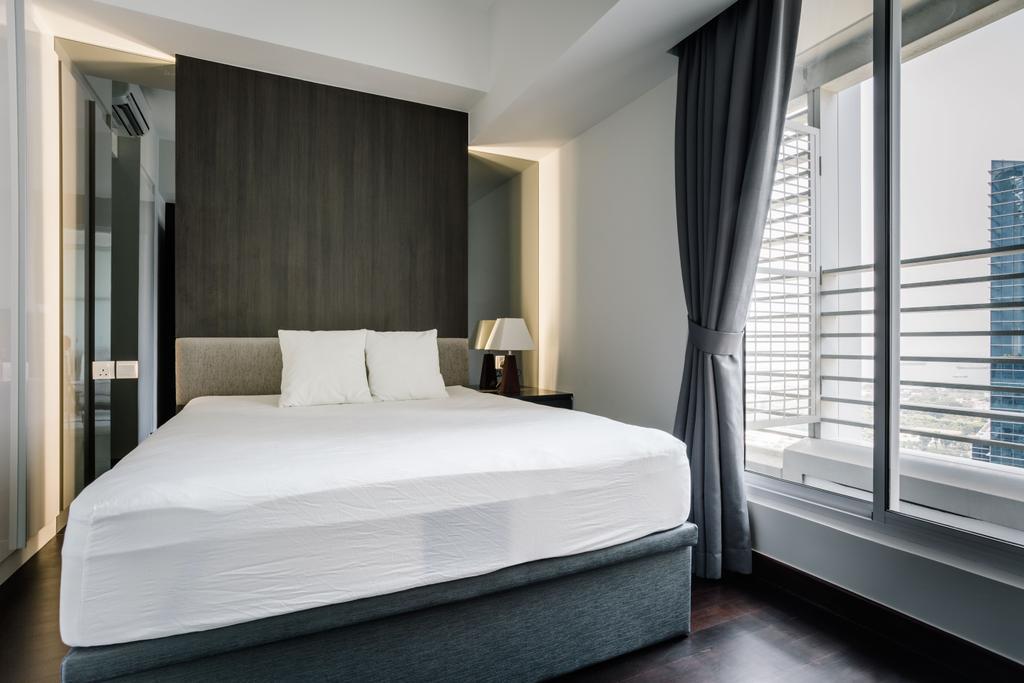 Modern, Condo, Bedroom, The Sail @ Marina Bay, Interior Designer, Metamorph Design, Indoors, Room, Bed, Furniture, Curtain, Home Decor