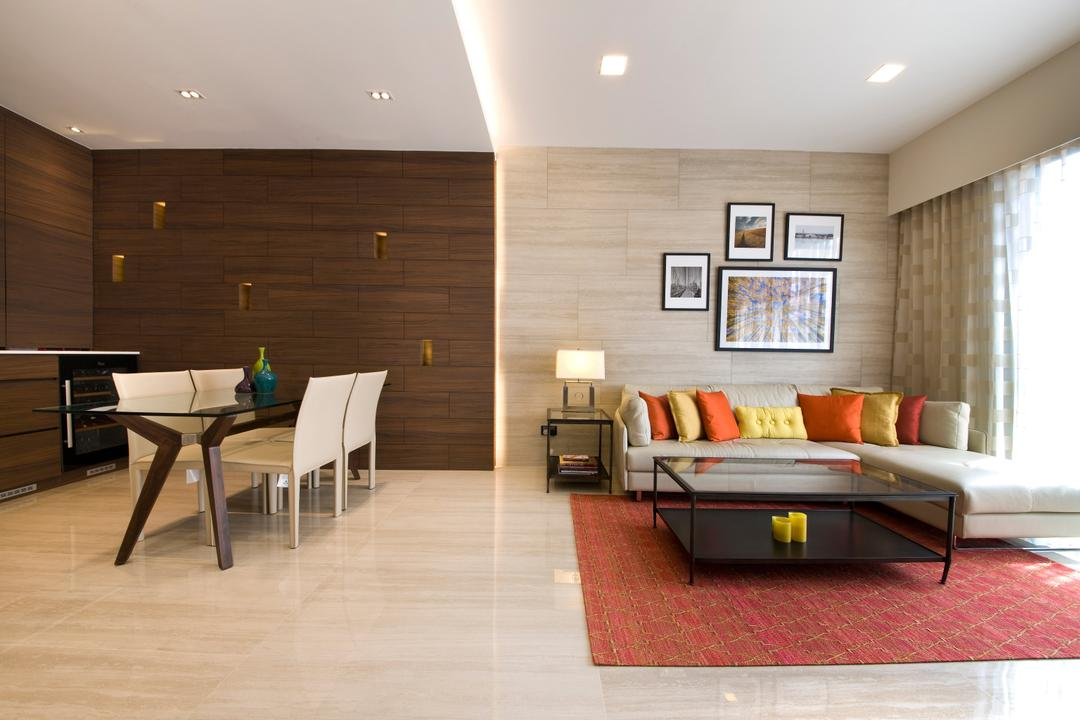 River Valley, Aspen Heights, Hall Interiors, Modern, Living Room, Condo, Concealed Lighting, Wooden Theme, Flooring, Wall, L Shaped Sofa, Carpeting, Dining Table, Furniture, Table, Chair, Indoors, Room