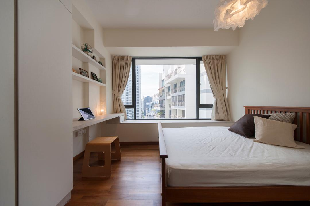 Casa Fortuna, Innerspace Design Solutions, Modern, Eclectic, Bedroom, Condo, Wooden Bedding Platform, Wooden Floor, Hanging Lights, Sling Curtain, Wall Mounted Shelve, Wall Mounted Table, White Wardrobe, King Size Bed, Cozy, Cosy, Indoors, Interior Design, Room, Bed, Furniture