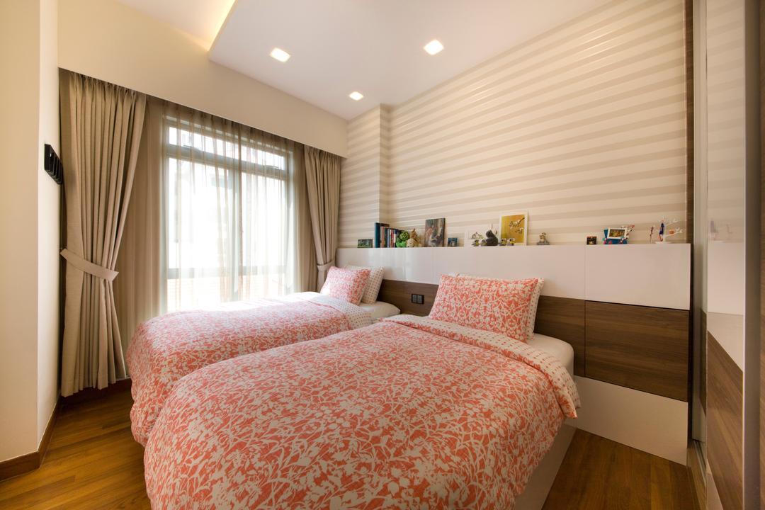 River Valley, Aspen Heights, Hall Interiors, Modern, Bedroom, Condo, Double Layer Curtain, Wallpaper, Stripe Pattern, Wall, Wooden Flooring, Indoors, Interior Design, Room