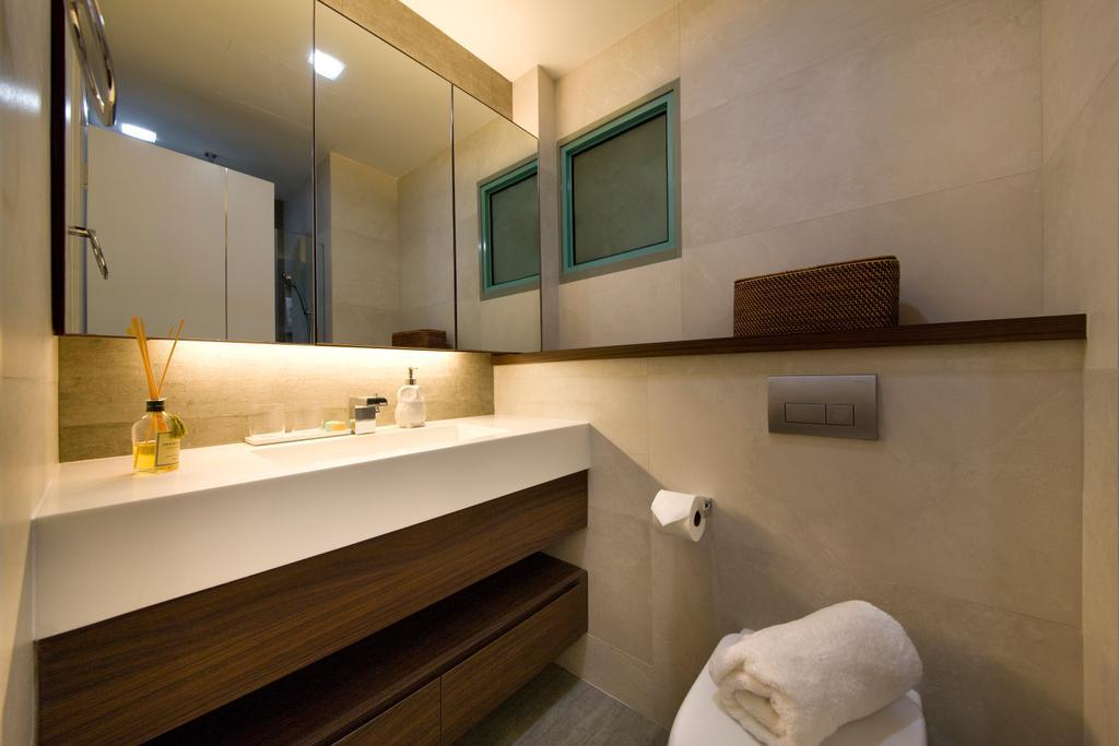 Modern, Condo, Bathroom, River Valley, Aspen Heights, Interior Designer, Hall Interiors, Mirror, Sink, Toilet Drawer, Toilet Wall Shelf, Concealed Lighting, Indoors, Interior Design, Room
