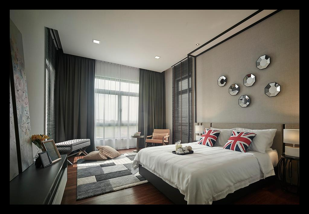Modern, Landed, Bedroom, Horizon Hill, Interior Designer, Oriwise Sdn Bhd, Contemporary, Couch, Furniture, Appliance, Electrical Device, Oven, Indoors, Interior Design, Room, Bed