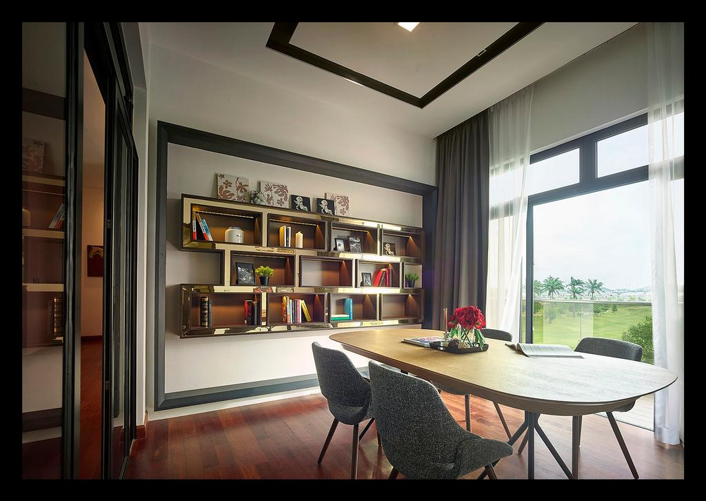 Modern, Landed, Bedroom, Horizon Hill, Interior Designer, Oriwise Sdn Bhd, Contemporary, Chair, Furniture, Dining Room, Indoors, Interior Design, Room, Bookcase, Dining Table, Table