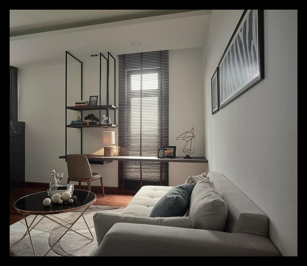Modern, Landed, Bedroom, Horizon Hill, Interior Designer, Oriwise Sdn Bhd, Contemporary, Chair, Furniture, Apartment, Building, Housing, Indoors, Loft, Couch, Bowl, Interior Design, Room, Shelf, Dish, Food, Meal, Plate