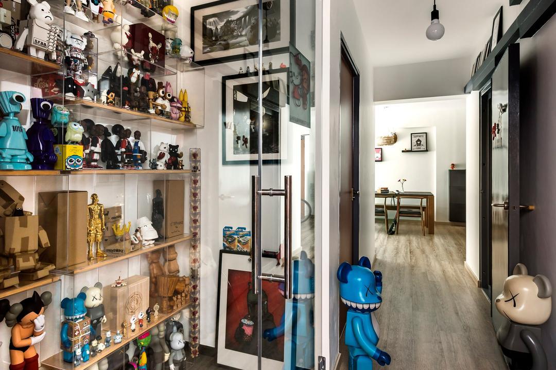 Upper Serangoon Crescent, D5 Studio Image, Scandinavian, Study, HDB, Laminate Flooring, Glass Doors, Display Showcase, Showcase Shelf, Display Shelf, Open Shelf, Figurine Display Shelf, Haning Lights