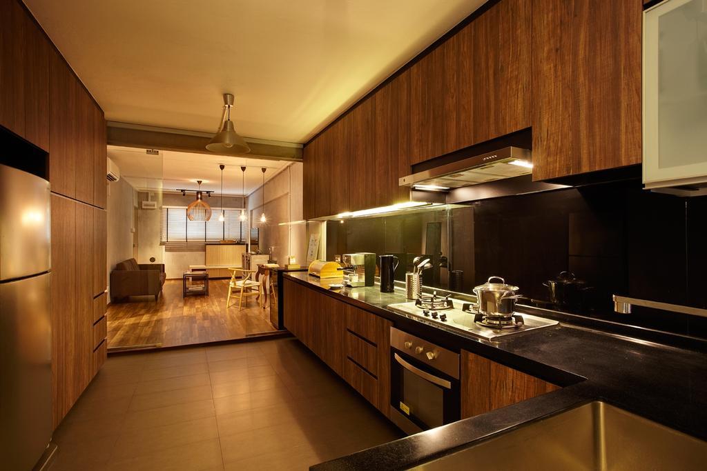 Industrial, HDB, Kitchen, Bukit Purmei, Interior Designer, D5 Studio Image, Brown Cabinets, Laminated Cabinets, Black Kitchen Top, Cooker Hood, Cooking Hood, Indoors, Interior Design