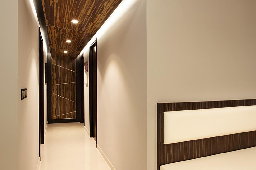 Prive, D5 Studio Image, Modern, Living Room, Condo, False Ceiling, Concealed Lighting, White Flooring, Wooden Ceiling, Recessed Lighting, Brown Wooden Bench, Wooden Bench, Cushioned Bench, White Cushion, Corridor