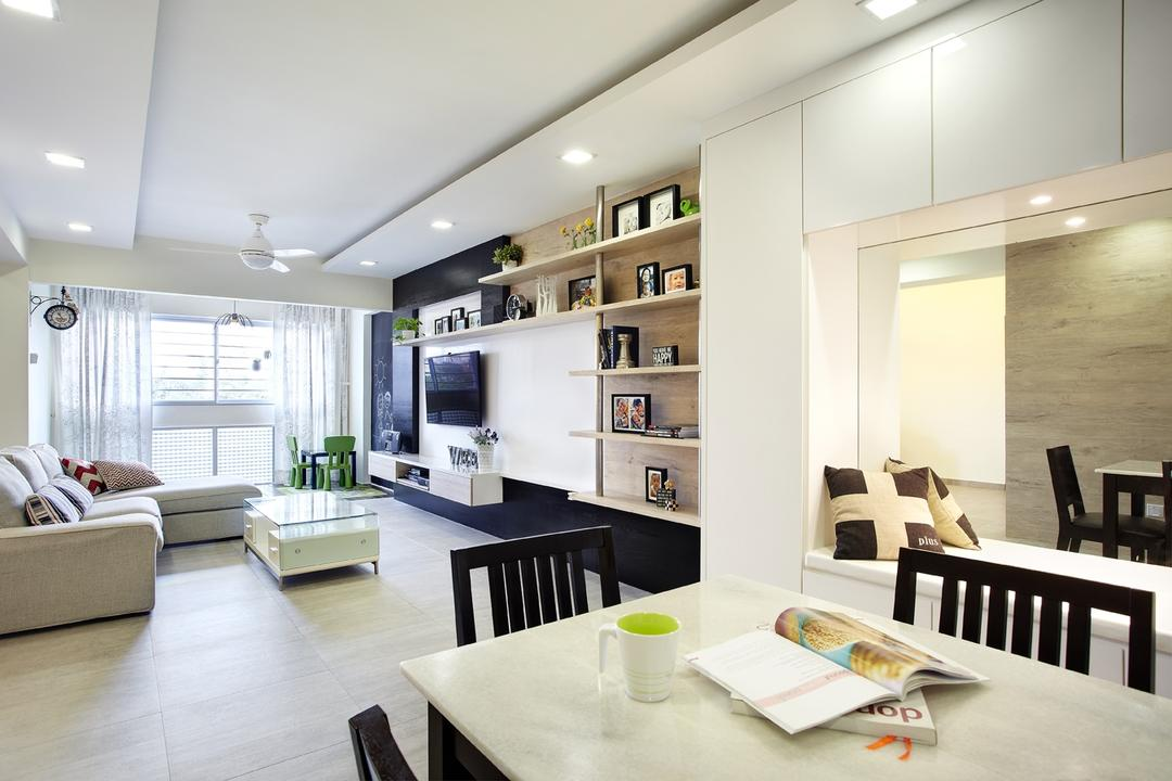 Joo Seng Road, D5 Studio Image, Modern, Dining Room, HDB, Recessed Lighting, Laminate Flooring, Marble Table Top, White Table Top, Black Chairs, False Ceiling, L Shaped Sofa, White Coffee Table, Coffee Table, Open Shelves, Wall Mirror, Dining Table, Furniture, Table, Indoors, Interior Design, Room, Sink