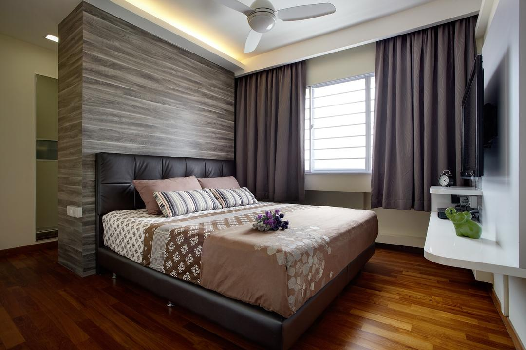 Joo Seng Road, D5 Studio Image, Modern, Bedroom, HDB, Laminate Flooring, Wooden Flooring, Brown Flooring, Wall Mounted Table, Curtains, Ceiling Fan, Cushioned Headboard, Concealed Lighting, Laminated Wall Partition, Wall Partition, Partition, Curtain, Home Decor, Bed, Furniture, Flooring, Indoors, Interior Design, Room