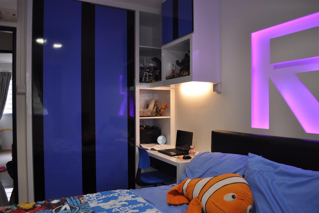 Yishun Street 72 (Block 750), Le Interi, Modern, Bedroom, HDB, Study Desk Lighting, Concealed Lighting, Purple Lighting, Shelf Display, Display Shelf, Open Shelves, Indoors, Interior Design, Room