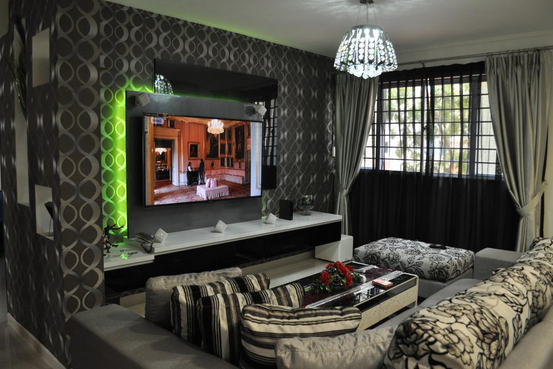 Yishun Street 72 (Block 750), Le Interi, Modern, Living Room, HDB, Pendant Lighting, Curtain, Feature Wall, Concealed Lighting, Tv Console, Wallpaper, Wallart, Wall Design, Indoors, Room, Lamp, Lampshade