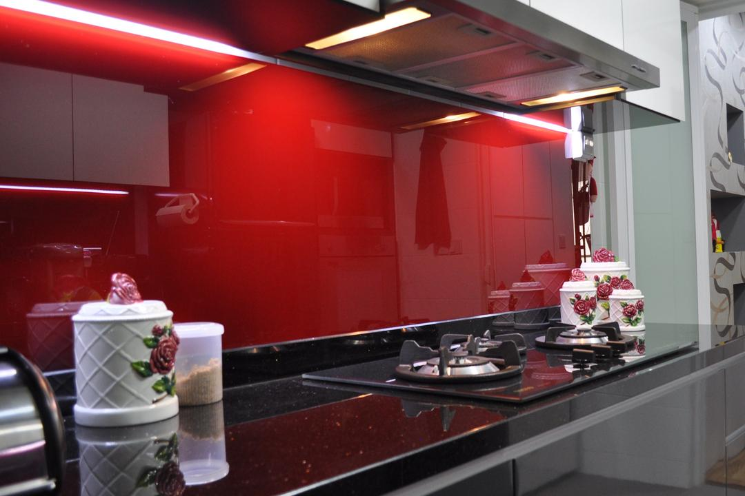 Punggol Walk (Block 213A), Le Interi, Modern, Kitchen, HDB, Red Wall, Black Kitchen Top, Kitchen Concealed Lighting