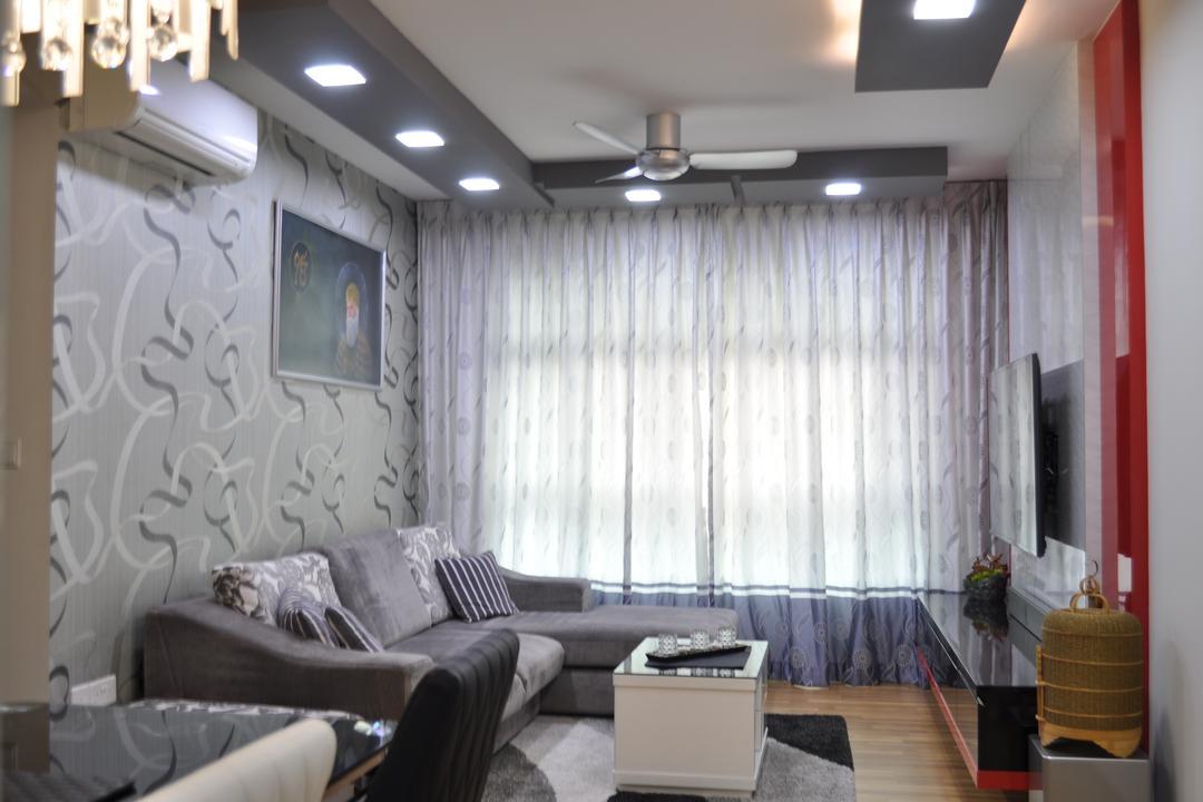 Punggol Walk (Block 213A), Le Interi, Modern, Living Room, HDB, Wall Design, Wallart, Feature Wall, Translucent Curtain, L Shaped Sofa, Coffee Table, Ceiling Lighting, Luggage, Suitcase, Lighting