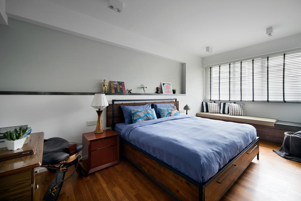 Scandinavian, HDB, Bedroom, Punggol Walk, Interior Designer, Fuse Concept, Wooden Floor, Wooden Bedding Panel, King Size Bed, Cozy, Cosy, Roll Down Curtain, Modern Contemporary Bedroom, Wooden Cabinet, Couch, Furniture, Bed, Indoors, Interior Design, Room
