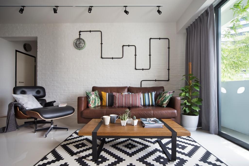 Scandinavian, HDB, Living Room, Punggol Walk, Interior Designer, Fuse Concept, Modern Contemporary Living Room, Track Lights, Sling Curtan, Brown Sofa, Lounge Chair, Patterned Rug, Wooden Table, Flora, Jar, Plant, Potted Plant, Pottery, Vase, Chair, Furniture, Home Decor, Linen, Tablecloth